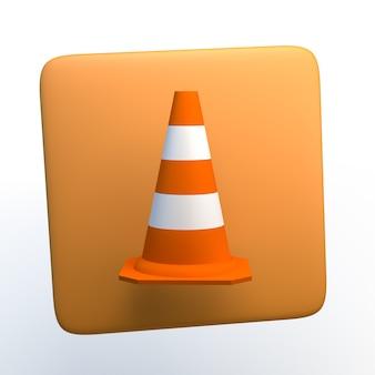 Icono con cono sobre fondo blanco aislado. ilustración 3d. app. Foto Premium