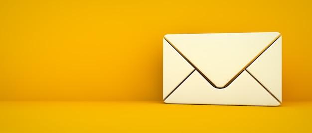 Icono de contacto de correo electrónico sobre fondo amarillo renderizado 3d