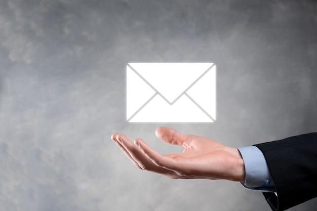 Icono de correo electrónico y usuario, signo, símbolo de marketing o boletín