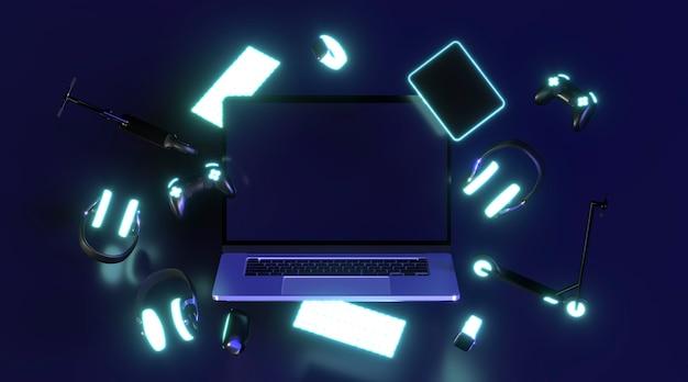 Icono de cyber monday con auriculares de neón