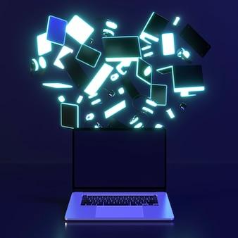 Icono de cyber monday con computadoras