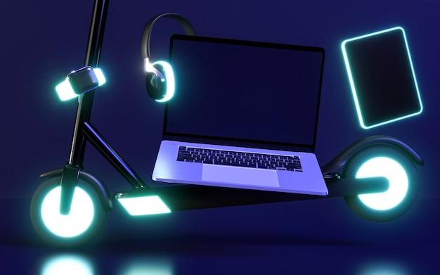 Icono de cyber monday con luz de neón