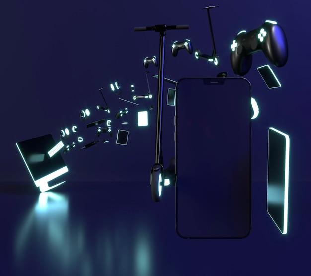 Icono de cyber monday con smartphones