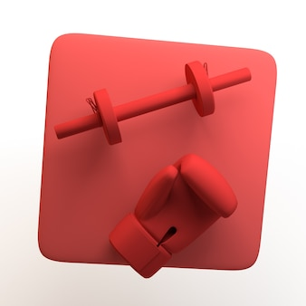 Icono de deporte y salud con pesas y guante de boxeo sobre fondo blanco aislado illustratio 3d Foto Premium