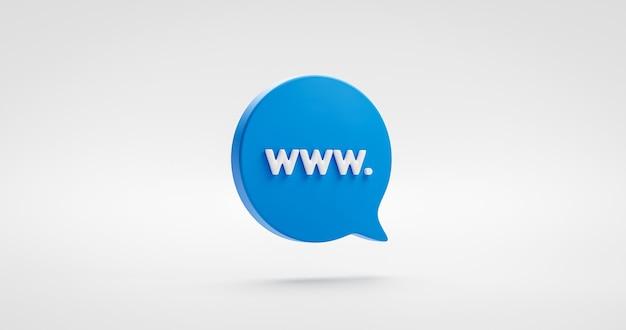 Icono de dirección de sitio web azul o signo de ilustración de world wide web (www.) y símbolo de comunicación social global sobre fondo de internet de correo electrónico digital con concepto de medios de tecnología en línea. representación 3d.
