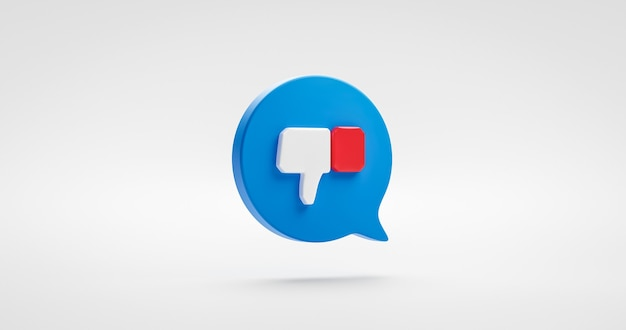 Icono de disgusto azul pulgar hacia arriba signo social o elemento de diseño gráfico de símbolo de botón de notificación aislado en blanco a diferencia de compartir fondo con concepto de seguidores de burbujas de discurso. representación 3d.