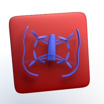 Icono de entretenimiento con drone sobre fondo blanco aislado. ilustración 3d. app. Foto Premium