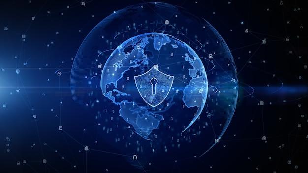 Icono de escudo azul de fondo de datos digitales de seguridad cibernética