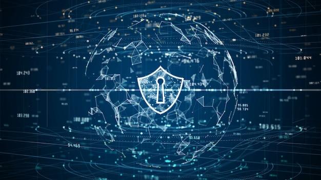 Icono de escudo de datos digitales de seguridad cibernética, protección de red de datos digitales