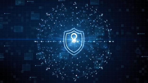 Icono de escudo de protección de red de datos de seguridad cibernética