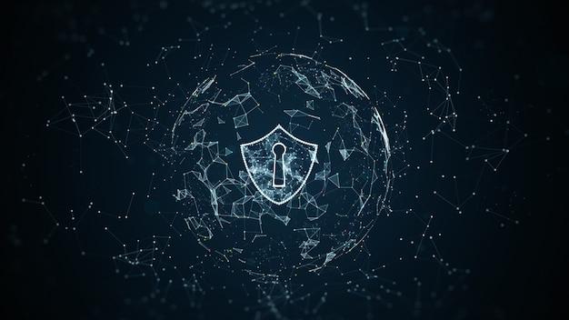 Icono de escudo en red global segura protección de red de información y seguridad cibernética
