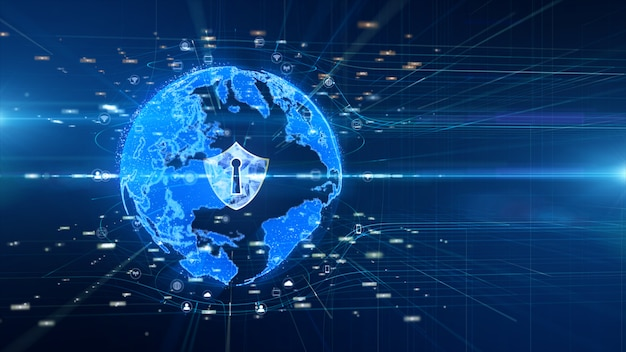 Icono de escudo en una red global segura, red de datos digitales conectada, concepto de seguridad cibernética