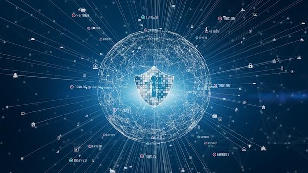 Icono de escudo en red global segura, seguridad cibernética y protección de redes de información, red de tecnología futura para negocios y concepto de marketing en internet
