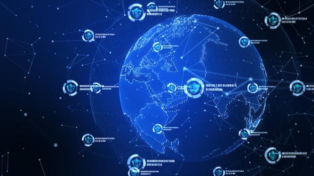 Icono de escudo en la red global segura, la tecnología de red y el concepto de seguridad cibernética.
