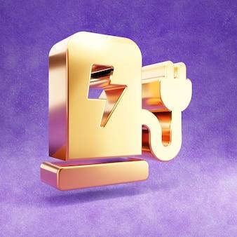 Icono de estación de carga de coche aislado en terciopelo violeta