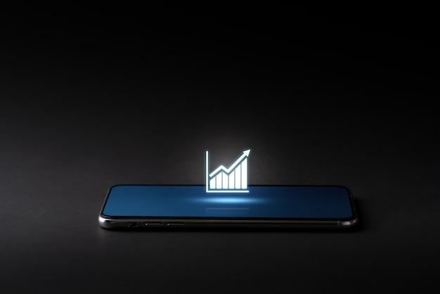 Icono de estrategia y negocios en teléfonos inteligentes en estilo futuro