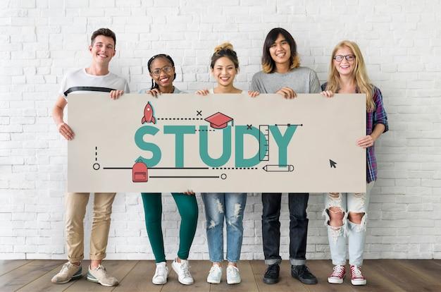 Icono de estudio de alfabetización de sabiduría académica