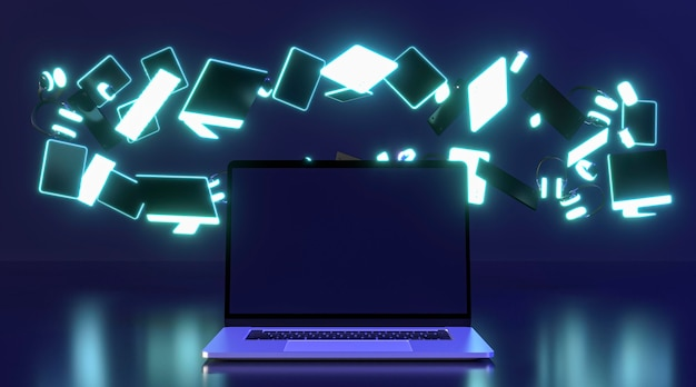 Icono de evento cyber monday con laptop