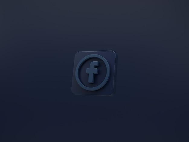 Icono de facebook 3d sobre fondo oscuro