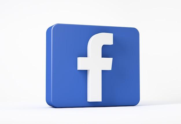 Icono de facebook aislado en blanco en un cuadrado