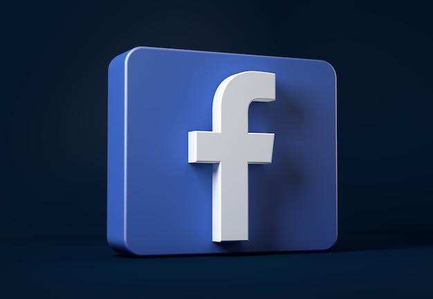 Icono de facebook aislado en la oscuridad en un cuadrado