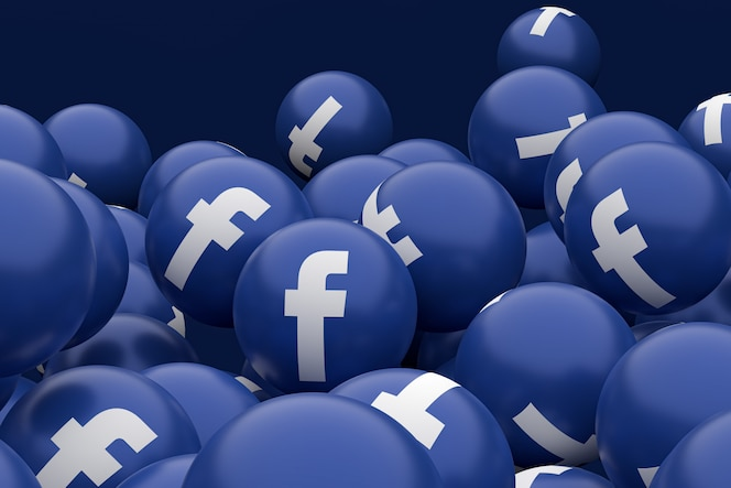 Icono de facebook emoji render 3d
