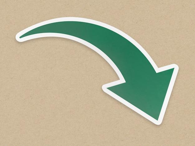 Icono de flecha hacia abajo aislado