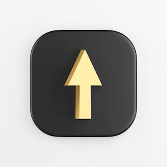 Icono de flecha hacia arriba de oro. representación 3d del botón de tecla cuadrado negro, elemento de interfaz de usuario ux de interfaz.
