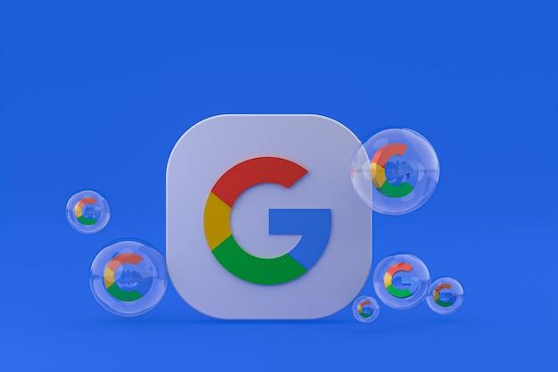 Icono de google en la pantalla del teléfono inteligente o teléfono móvil 3d render
