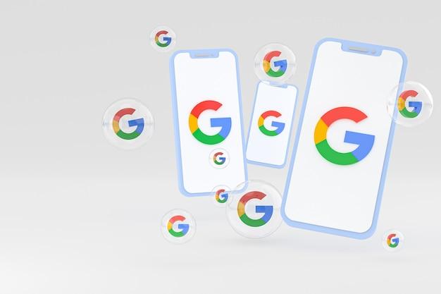 Icono de google en la pantalla del teléfono inteligente o teléfono móvil 3d