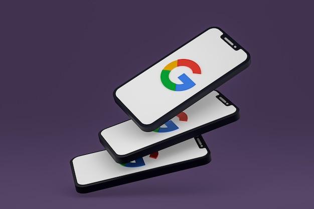 Icono de google en la pantalla del teléfono inteligente o teléfono móvil render 3d Foto Premium