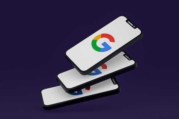 Icono de google en la pantalla del teléfono inteligente o teléfono móvil render 3d