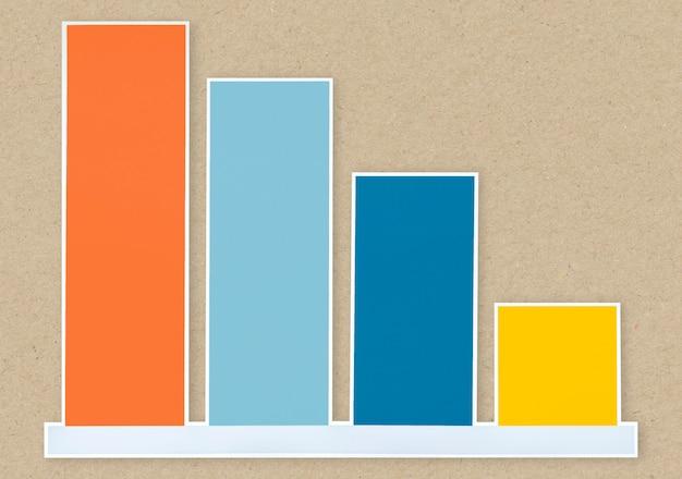 Icono de gráfico de barras decreciente aislado