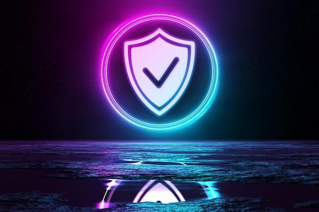 Icono holográfico de seguridad cibernética