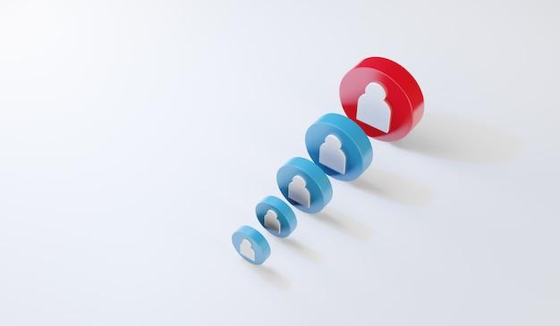 Icono humano rojo que brilla intensamente entre otras personas. concepto de liderazgo y éxito empresarial, render 3d