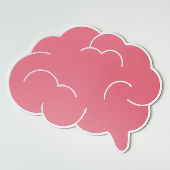 Icono de ideas creativas de cerebro rosa