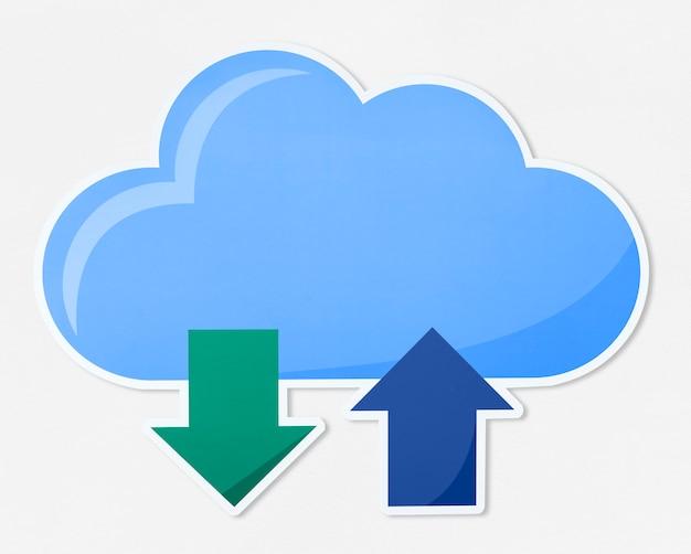 Icono de ilustración de computación en la nube