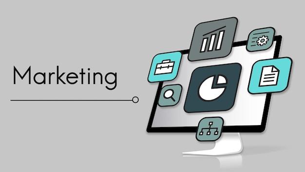 Icono de inicio de marketing de estrategia de planificación