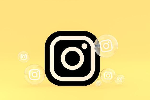 El icono de instagram en la pantalla del teléfono inteligente o móvil y las reacciones de instagram aman el render 3d sobre fondo amarillo