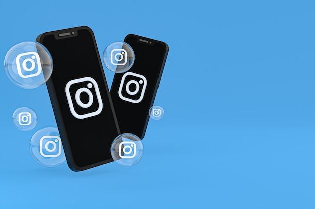 Icono de instagram en la pantalla del teléfono inteligente o móvil y las reacciones de instagram aman el render 3d sobre fondo azul