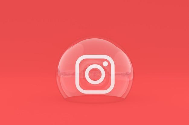 El icono de instagram en la pantalla del teléfono inteligente o móvil y las reacciones de instagram aman el render 3d sobre fondo rojo.