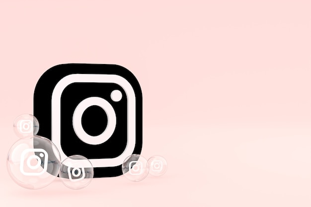 El icono de instagram en la pantalla del teléfono inteligente o móvil y las reacciones de instagram aman el render 3d sobre fondo rosa