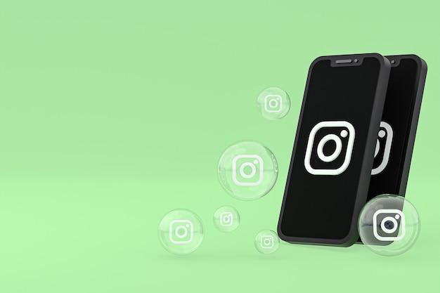 El icono de instagram en la pantalla del teléfono inteligente o móvil y las reacciones de instagram aman el render 3d sobre fondo verde