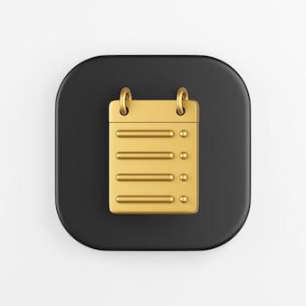 Icono de línea recta de calendario dorado. representación 3d del botón de tecla cuadrado negro, elemento de interfaz de usuario ux de interfaz.