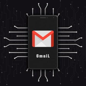 Icono del logotipo de gmail en la pantalla del teléfono sobre fondo de tecnología 3d