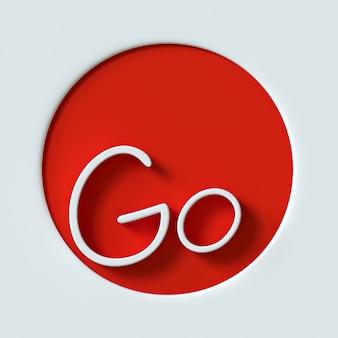 Icono del logotipo letter go para la ilustración 3d de la identidad corporativa