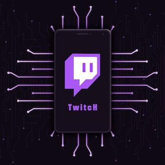 Icono del logotipo de twitch en la pantalla del teléfono en el fondo de tecnología 3d