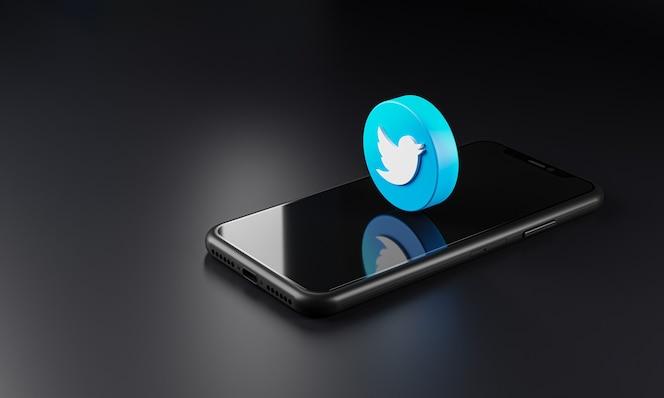 icono del logotipo de twitter sobre teléfono inteligente, renderizado 3d