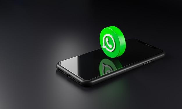 Icono del logotipo de whatsapp sobre smartphone, renderizado 3d
