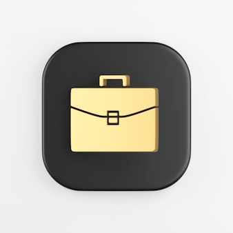 Icono de maletín de negocios dorado. representación 3d del botón de tecla cuadrado negro, elemento de interfaz de usuario ux de interfaz.